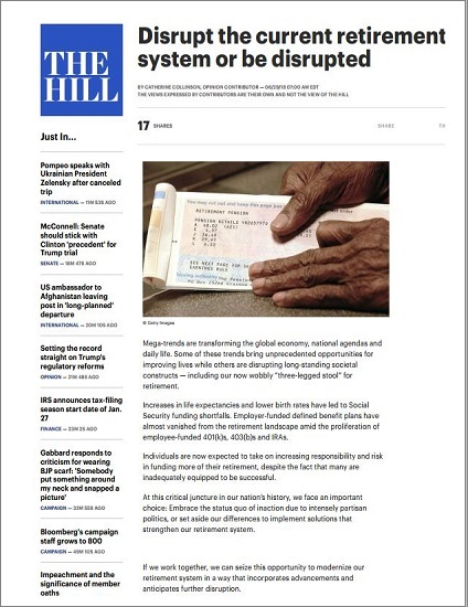 Disrupt the current retirement system or be disrupted_The Hill_Thumbnail